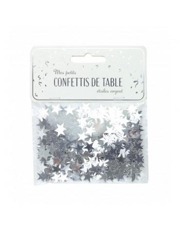 Confettis Etoiles argentées décoration table de fête