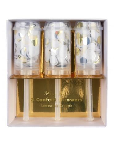 3 lanceurs à confettis or, argent et blancs Meri Meri  Fête originale
