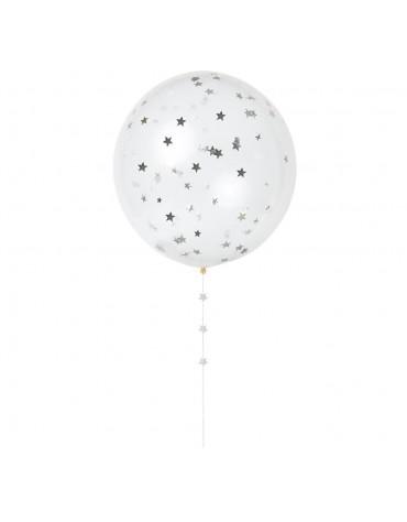 Kit 8 ballons Confettis argent Meri Meri fête anniversaire