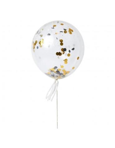 Kit 8 ballons Confettis silver and gold Meri Meri