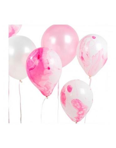 12 Ballons Rose Marbré Talking Tables fête anniversaire