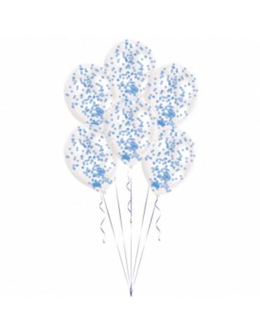 6 ballons Confettis Bleus décoration fête anniversaire