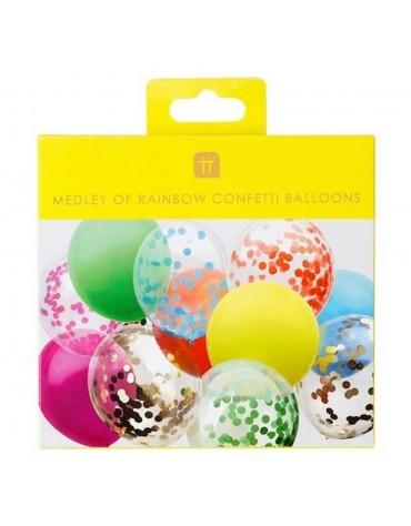 12 Ballons Arc-en-ciel et Confettis Talking Tables fête anniversaire
