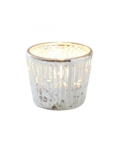 Petit photophore en verre argenté décoration Noël et Jour de l'an