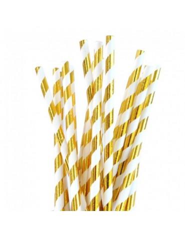 24 Pailles Rayées dorées décoration table de fête