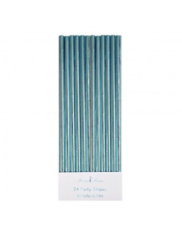 24 Pailles Bleu métallisé Meri Meri décoration table de fête
