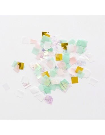 Confettis carrés irisés Meri Meri décoration table de fête