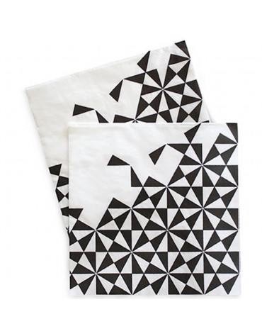20 Grandes Serviettes Géométriques noires décoration table