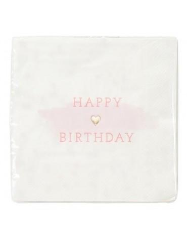 16 Grandes  serviettes Coeur Happy Birthday Talking Tables décoration table de fête