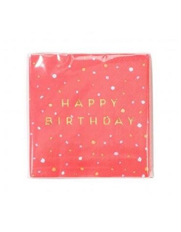 16  petites serviettes Roses Happy Birthday décoration table de fête
