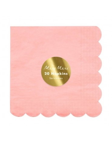 20 Petites serviettes Corail Fuo Meri Meri décoration table de fête