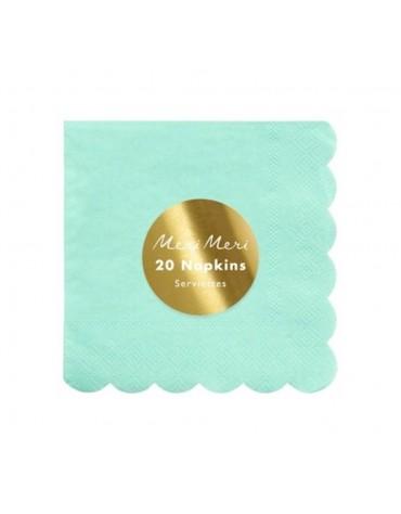 20 Petites serviettes Menthe Meri Meri décoration table de fête