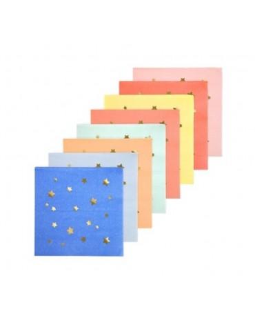 16 Petites serviettes Etoilées multicolores Meri Meri décoration table de fête