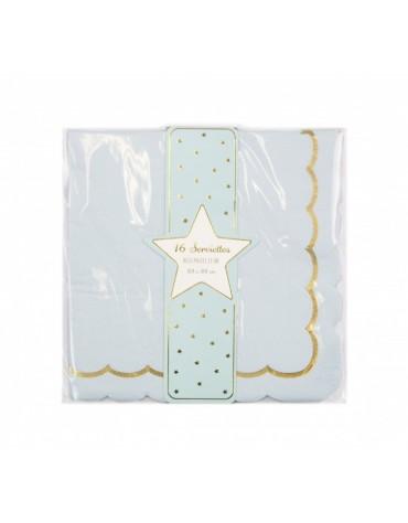 16 Petites serviettes Bleues festonnées décoration table de fête