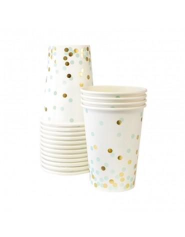 12 Gobelets Confettis dorés et menthe décoration table de fête