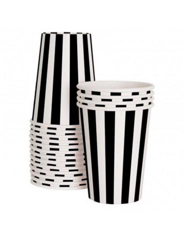 12 Gobelets rayés noir et blanc