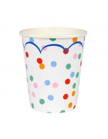 8 Gobelets à pois multicolores Meri Meri décoration table de fête
