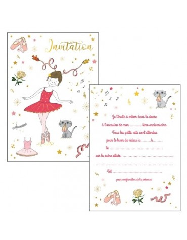 6 Cartes Invitation Danse