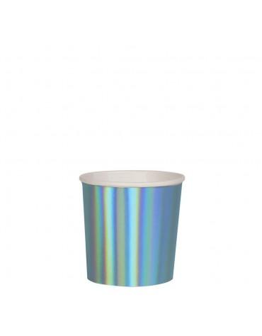 8 Petits gobelets Bleu irisé Meri Meri décoration table de fête