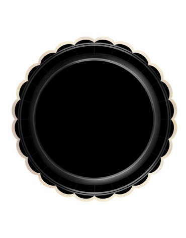 8 Assiettes festonnées noires décoration table de fête