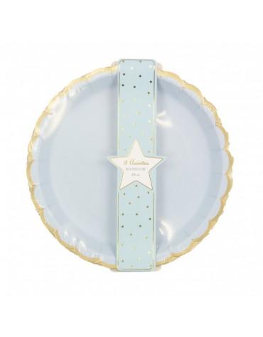 8 Assiettes festonnées bleues décoration table de fête