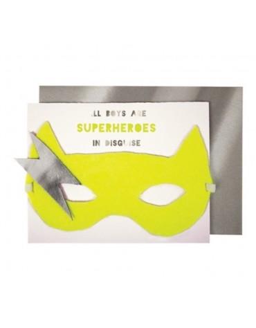 1 Carte postale Masque Super-Héros Meri Meri décoration table de fête