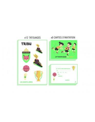 8 cartes d'invitation anniversaire sport les jouets libres