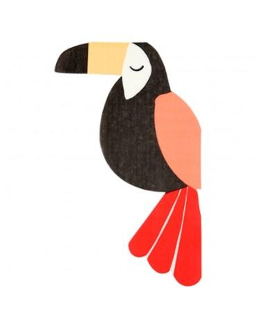 20 Serviettes Toucan anniversaire Tropical