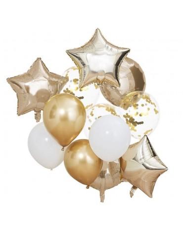 Kit de 12 ballons blancs et dorés Ginger Ray