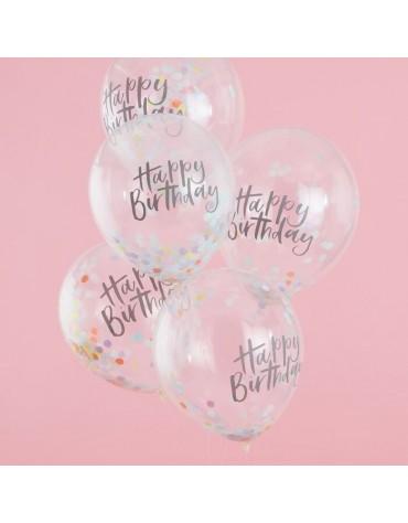 Kit de 5 ballons confettis Pastel Happy Birthday