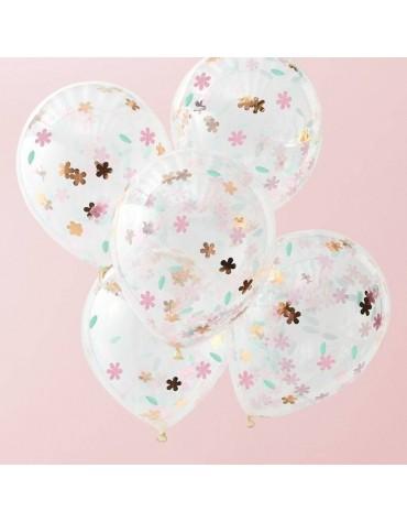 5 ballons Fleurs dorées et roses Ginger Ray
