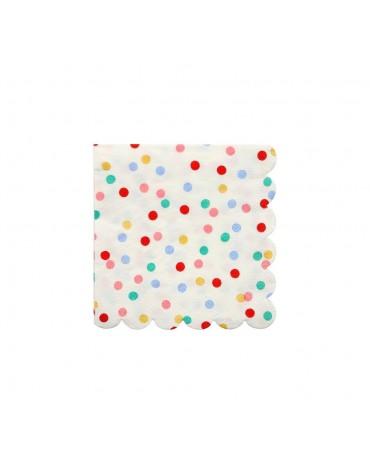 20 Petites Serviettes pois multicolores