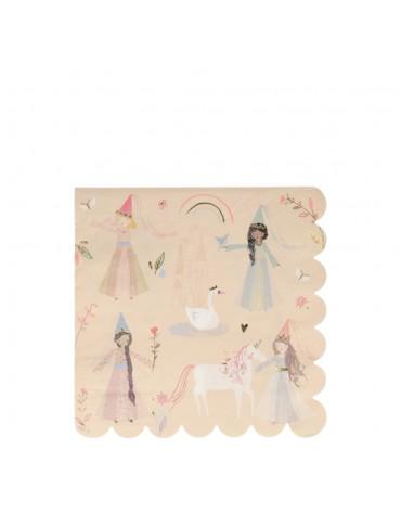 16 grandes serviettes fééries Princesses et licornes