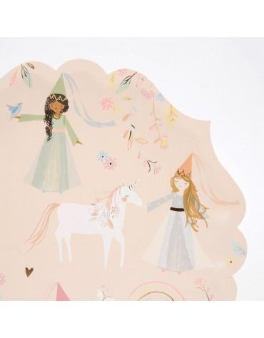 8 grandes Assiettes Fééries Princesses Licornes