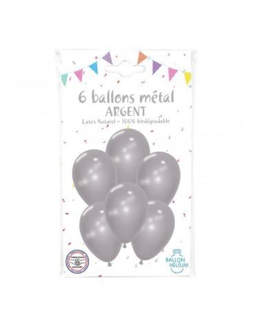 6 Ballons Métal Argent