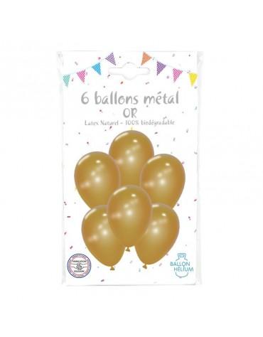 6 Ballons Métal Or