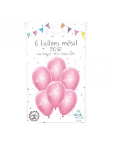 6 Ballons Métal Rose