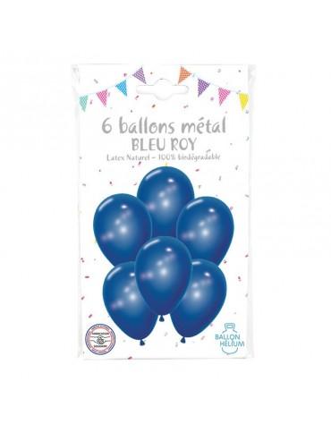 6 Ballons Métal Bleu Roy