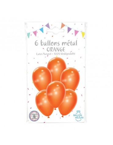 6 Ballons Métal Orange