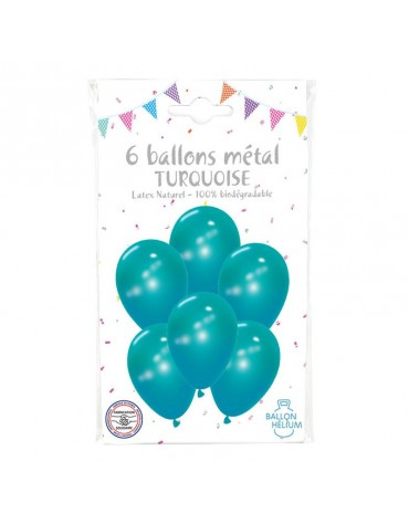 6 Ballons Métal Turquoise