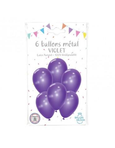 6 Ballons Métal Violet