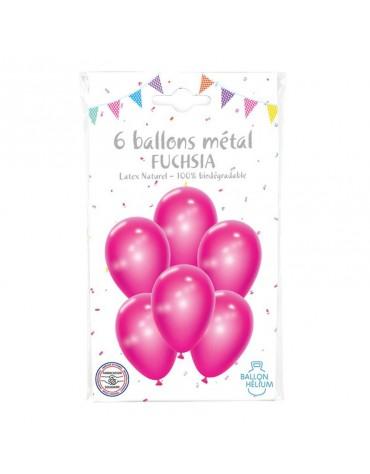 6 Ballons Métal Fuchsia