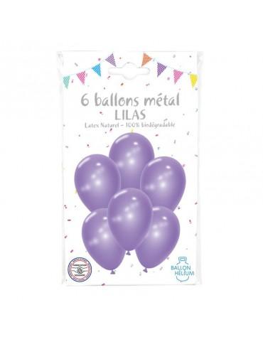 6 Ballons Métal Lilas