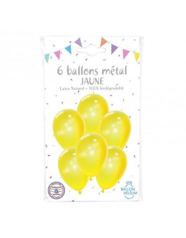 6 Ballons Métal Jaune