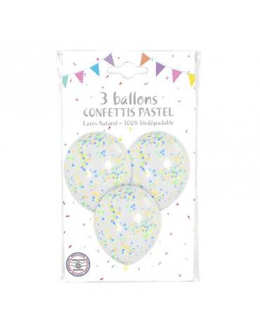 3 Ballons Confettis Pastel
