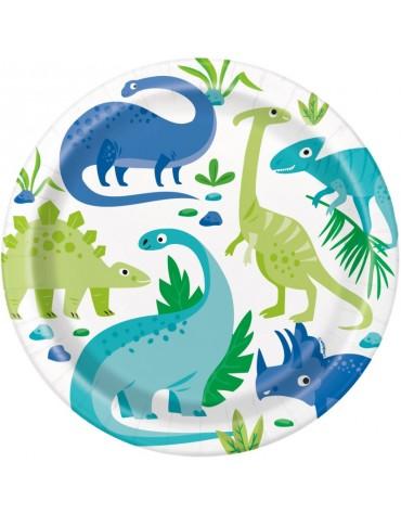 8 assiettes en carton _ Dinosaures