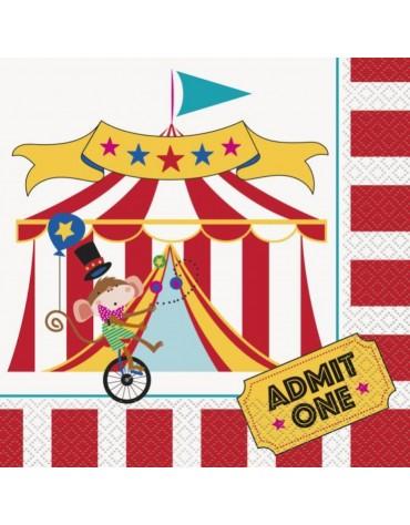 16 Seviettes en papier _ Carnaval Circus