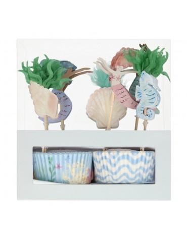 Kit 24 caissettes Cupcakes Sirènes