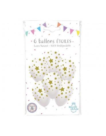 6 Ballons Étoiles dorées déco de fête