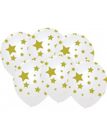 6 Ballons Étoiles dorées